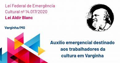 Fundação Cultural divulga classificação final dos contemplados pela Lei Aldir Blanc em Varginha