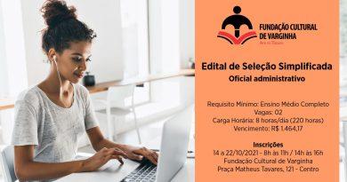 Fundação Cultural abre seleção para duas vagas de oficial administrativo